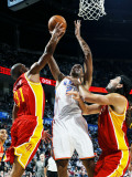 Houston Rockets v Oklahoma City Thunder: Thabo Sefolosha, Shane Battier and Luis Scola Photographic Print by Larry W. Smith