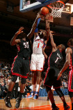 Miami Heat v New York Knicks: Amar'e Stoudemire, Joel Anthony and Chris Bosh Photographic Print by Nathaniel S. Butler