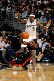 Miami Heat v Washington Wizards: LeBron James and Josh Howard Photographic Print by Greg Fiume