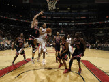 Chicago Bulls v Toronto Raptors: Omer Asik, Jerryd Bayless and C.J. Watson Photographic Print by Ron Turenne