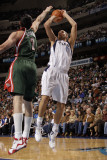 Milwaukee Bucks v Dallas Mavericks: Dirk Nowitzki and Ersan Ilyasova Photographic Print by Danny Bollinger