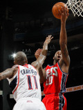 New Jersey Nets v Atlanta Hawks: Jamal Crawford and Damion James Photographic Print by Kevin Cox