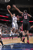 Portland Trail Blazers v New Jersey Nets: Devin Harris and LaMarcus Aldridge Photographic Print by David Dow
