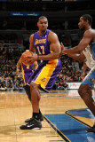 Los Angeles Lakers v Washington Wizards: Andrew Bynum and Hilton Armstrong Photographic Print by Andrew Bernstein