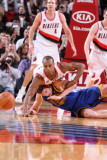 Golden State Warriors v Portland Trail Blazers: David Lee and Dante Cunningham Photographic Print by Sam Forencich