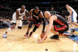 Miami Heat v Washington Wizards: Zydrunas Ilgauskas, Dwyane Wade and Andray Blatche Photographic Print by Greg Fiume