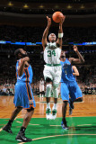 Oklahoma City Thunder v Boston Celtics: Paul Pierce and James Harden Photographic Print by Brian Babineau