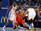 Houston Rockets v Oklahoma City Thunder: Serge Ibaka, Thabo Sefolosha and Luis Scola Photographic Print by Larry W. Smith