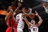 New Jersey Nets v Atlanta Hawks: Damion James, Josh Powell and Zaza Pachulia Photographic Print by Kevin Cox