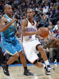 New Orleans Hornets v Oklahoma City Thunder: Eric Maynor and Jarrett Jack Photographic Print by Layne Murdoch