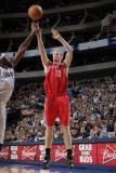 Houston Rockets v Dallas Mavericks: Chase Budinger and Brendan Haywood Photographic Print by Glenn James