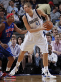 Detroit Pistons v Dallas Mavericks: Dirk Nowitzki and Charlie Villanueva Photographic Print by Glenn James
