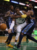 Denver Nuggets v Boston Celtics: Rajon Rondo and Nene Photographic Print by  Elsa