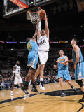 New Orleans Hornets v San Antonio Spurs: Tiago Splitter and Quincy Pondexter Photographic Print by D. Clarke Evans