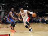New York Knicks v Toronto Raptors: Amir Johnson, Wilson Chandler and Landry Fields Photographic Print by Ron Turenne