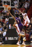 Phoenix Suns v Miami Heat: Josh Childress, Juwan Howard and Dwyane Wade Photographic Print by Mike Ehrmann