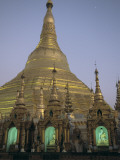 Buddha Statues in Niches at the Shwedagon Pagoda Photographic Print by Alison Wright