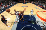 Atlanta Hawks v New Jersey Nets: Derrick Favors and Al Horford Photographic Print by David Dow