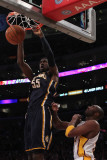 Indiana Pacers v Los Angeles Lakers: Roy Hibbert and Kobe Bryant Photographic Print by Jeff Gross