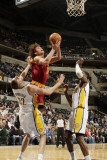 Cleveland Cavaliers  v Indiana Pacers: Anderson Varejao, Josh McRoberts and Roy Hibbert Photographic Print by Ron Hoskins