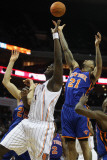New York Knicks v Charlotte Bobcats: Wilson Chandler and Kwame Brown Photographic Print by Streeter Lecka