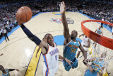 New Orleans Hornets v Oklahoma City Thunder: Russell Westbrook and Emeka Okafor Photographic Print by Layne Murdoch