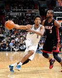 Miami Heat v Washington Wizards: Nick Young and Dwyane Wade Photographic Print by Greg Fiume