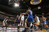 Golden State Warriors v Memphis Grizzlies: Monta Ellis and ris Biedrins and Marc Gasol Photographic Print by Joe Murphy