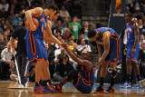 New York Knicks v Denver Nuggets: Raymond Felton, Danilo Gallinari, Landry Fields, Wilson Chandler  Photographic Print by Doug Pensinger