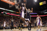 Indiana Pacers v Phoenix Suns: Earl Clark and Josh McRoberts Photographic Print by Christian Petersen