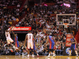 Detroit Pistons v Miami Heat: Dwyane Wade and Will Bynum Photographic Print by Mike Ehrmann