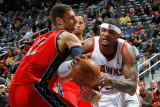 New Jersey Nets v Atlanta Hawks: Brook Lopez and Josh Smith Photographic Print by Kevin Cox