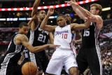 San Antonio Spurs v Los Angeles Clippers: Eric Gordon, Tim Duncan, Matt Bonner and George Hill Photographic Print by Harry How