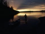 Glassy Waters Mirror a Summer Sunset on Shoshone Lake, Yellowstone Photographic Print by Raymond Gehman