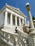 A Student Climbs the Stairs to the National Library in Athens Photographic Print by Richard Nowitz