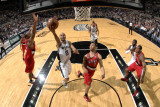 Portland Trail Blazers v San Antonio Spurs: Tony Parker, Marcus Camby and Brandon Roy Photographic Print by D. Clarke Evans