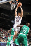 Boston Celtics v New Jersey Nets: Kris Humphries and Shaquille O'Neal Photographic Print by Nathaniel S. Butler