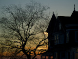 A Victorian House and Tree Silhouetted by the Setting Sun Photographic Print by Todd Gipstein