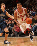 Minnesota Timberwolves v Chicago Bulls: Derrick Rose and Luke Ridnour Photographic Print by Ray Amati