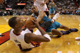 New Orleans Hornets v Miami Heat: Chris Bosh and David West Photographic Print by  Mike