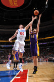 Los Angeles Lakers v Philadelphia 76ers: Pau Gasol and Spencer Hawes Photographic Print by Jesse D. Garrabrant