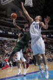 Milwaukee Bucks v Dallas Mavericks: Luc Mbah a Moute and Dirk Nowitzki Photographic Print by Glenn James