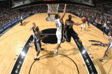 Memphis Grizzlies v San Antonio Spurs: O.J. Mayo and Tim Duncan Photographic Print by D. Clarke Evans