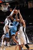 New Orleans Hornets v San Antonio Spurs: Trevor Ariza, Tim Duncan and DeJuan Blair Photographic Print by D. Clarke Evans