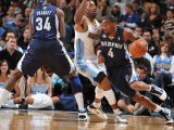 Memphis Grizzlies v Denver Nuggets: Sam Young and J.R. Smith Photographic Print by Garrett Ellwood