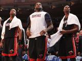 Miami Heat v New York Knicks: Dwyane Wade, LeBron James and Chris Bosh Photographic Print by Al Bello