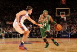 Boston Celtics v New York Knicks: Paul Pierce and Danilo Gallinari Photographic Print by Lou Capozzola