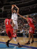 Houston Rockets v Dallas Mavericks: Dirk Nowitzki, Luis Scola and Shane Battier Photographic Print by Danny Bollinger