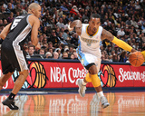San Antonio Spurs v Denver Nuggets: J.R. Smith and Ime Udoka Photo by Garrett Ellwood