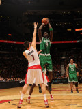 Boston Celtics v Toronto Raptors: Kevin Garnett and Andrea Bargnani Photographic Print by Ron Turenne